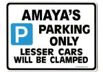 AMAYA'S Personalised Parking Sign Gift | Unique Car Present for Her |  Size Large - Metal faced
